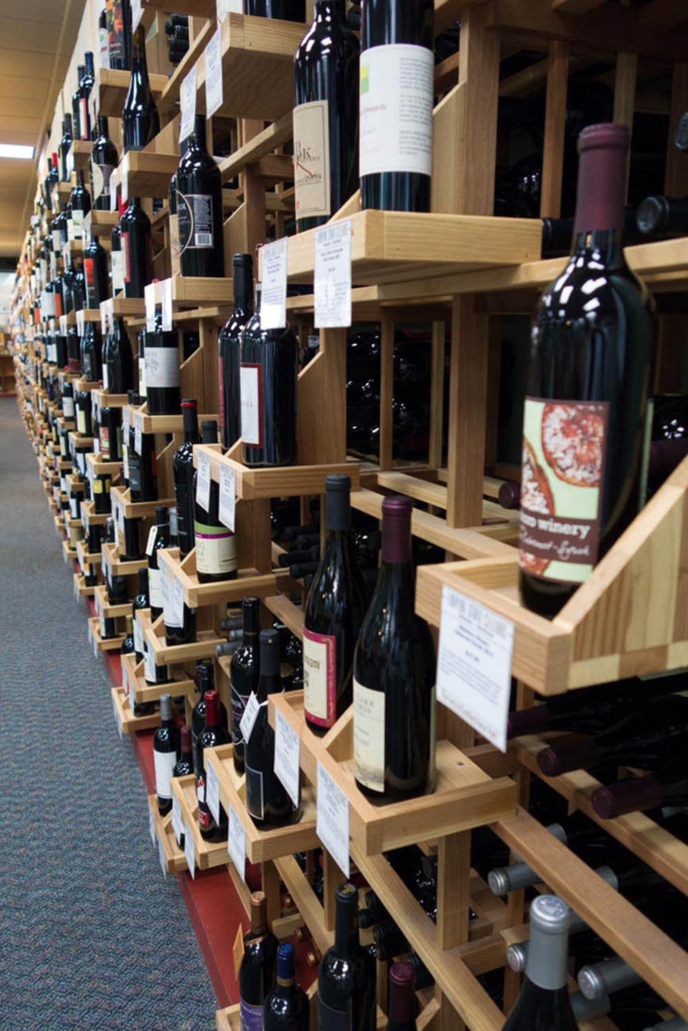 A wall of wine at Empire State Cellars.