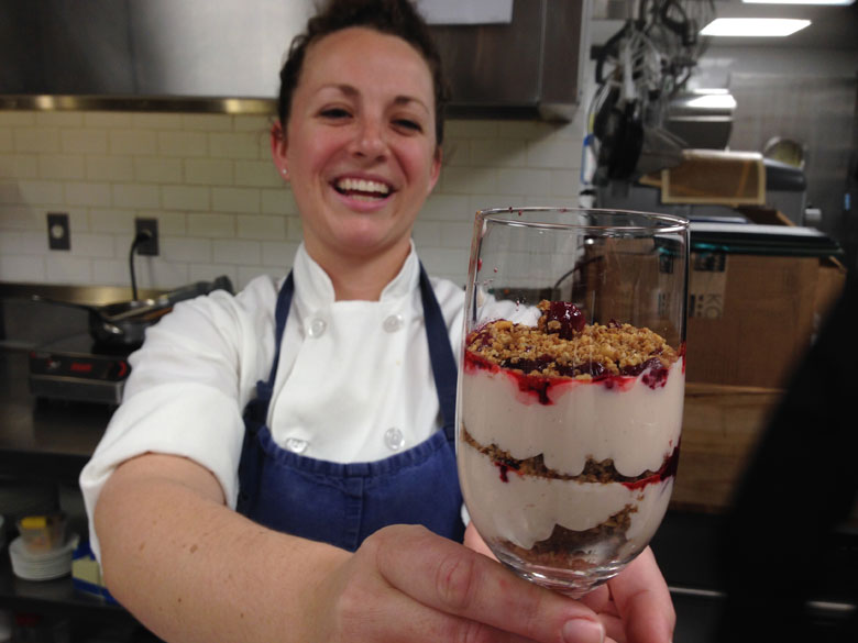 Topping Rose Pastry Chef Cassandra Shupp shows off her cranberry panna cotta crumble.