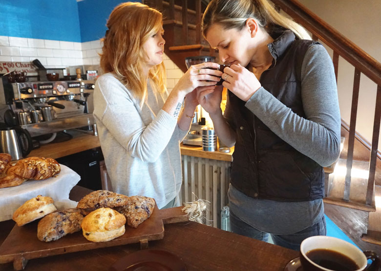 Jessica Dunne and Jennilee Morris of North Fork Roasting Co.
