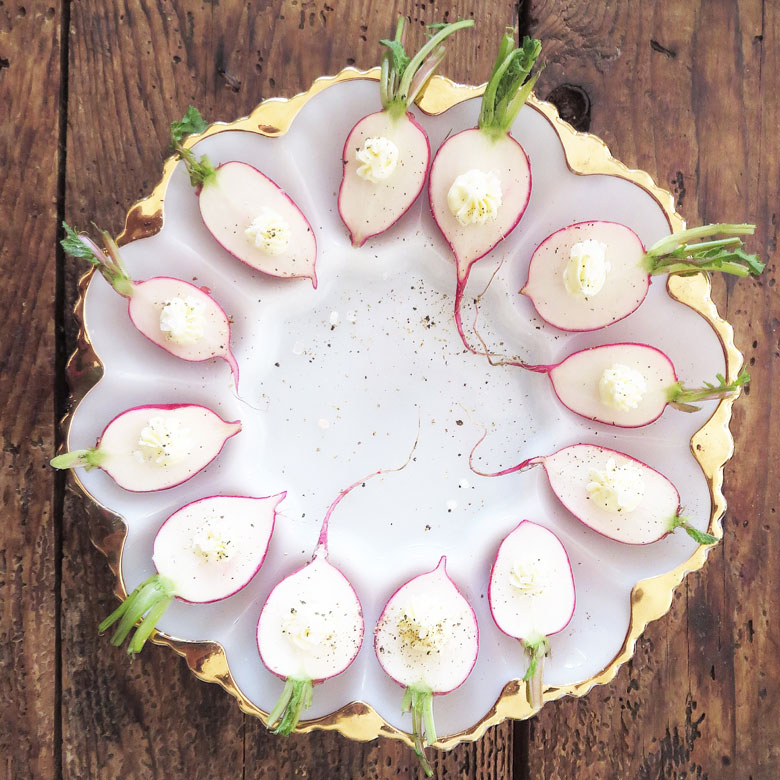 radishes on plate