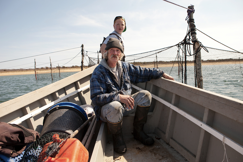 Will in the bow of his uncle's boat with Chet Kent.  Pound traps, pictured here, are built perpendicular to the shore, with a net hung from wooden stakes set annually.  The traps are lifted daily, with fish such as blowfish, fluke and bluefish brought into the boat.  Unwanted fish and crabs are released back into the water, alive.