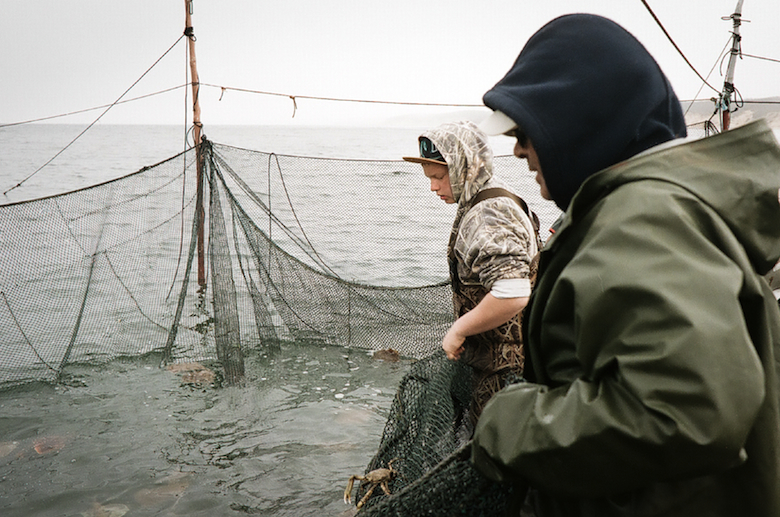 Will lifting a trap with crew member LJ.  After the fish to be kept are removed they dump out whatever was unintentionally caught in the net.  The fish are alive until they are put on the boat so no fish that are undersized or not in season are killed. (2015)