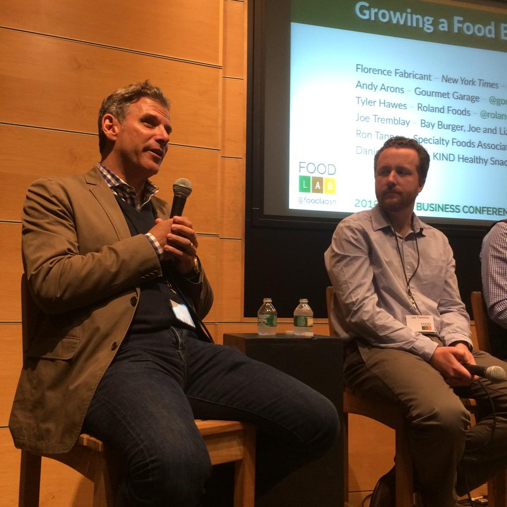 At the Food Lab conference in June, Joe Tremblay, at right, talked about the many pivots a successful food brand must make, whether his burger joint or his Hamptons-rich ice cream.
