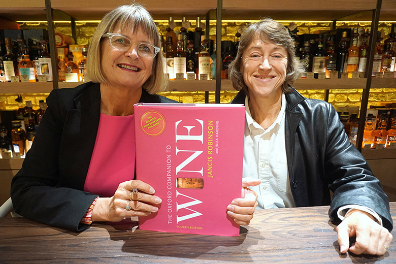Jancis Robinson and Julia Harding sign copies of the fourth edition of the Oxford Companion to Wine at Hedonism wine shop in London.