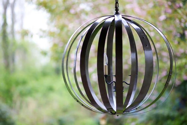 Hoops from old wine barrels become a chandelier.