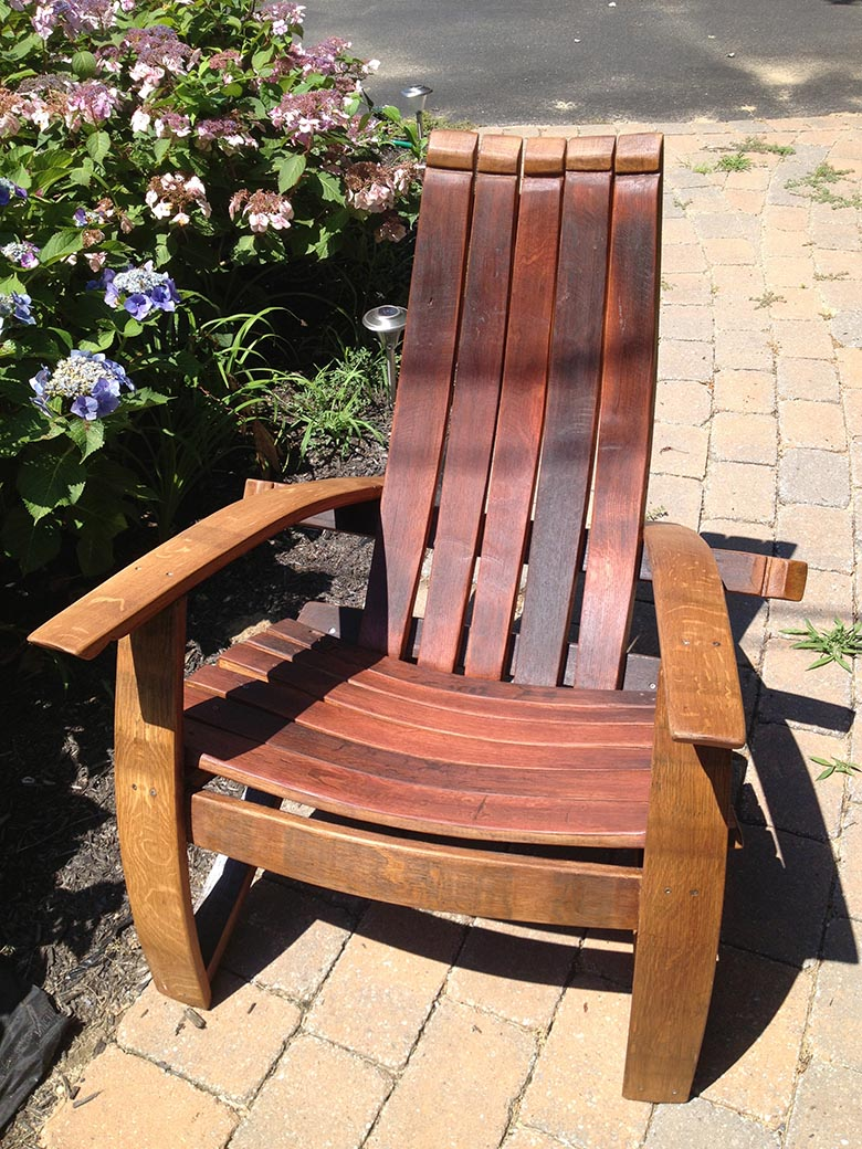 An Adirondack chair made from barrel staves.