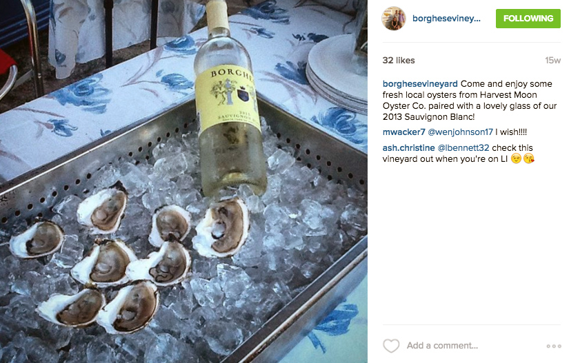 wine and oyster