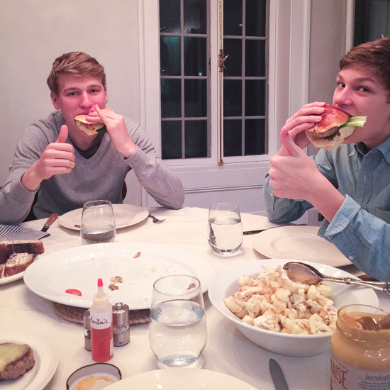 David Barber (brother of Dan Barber) sons trying the burger at home.