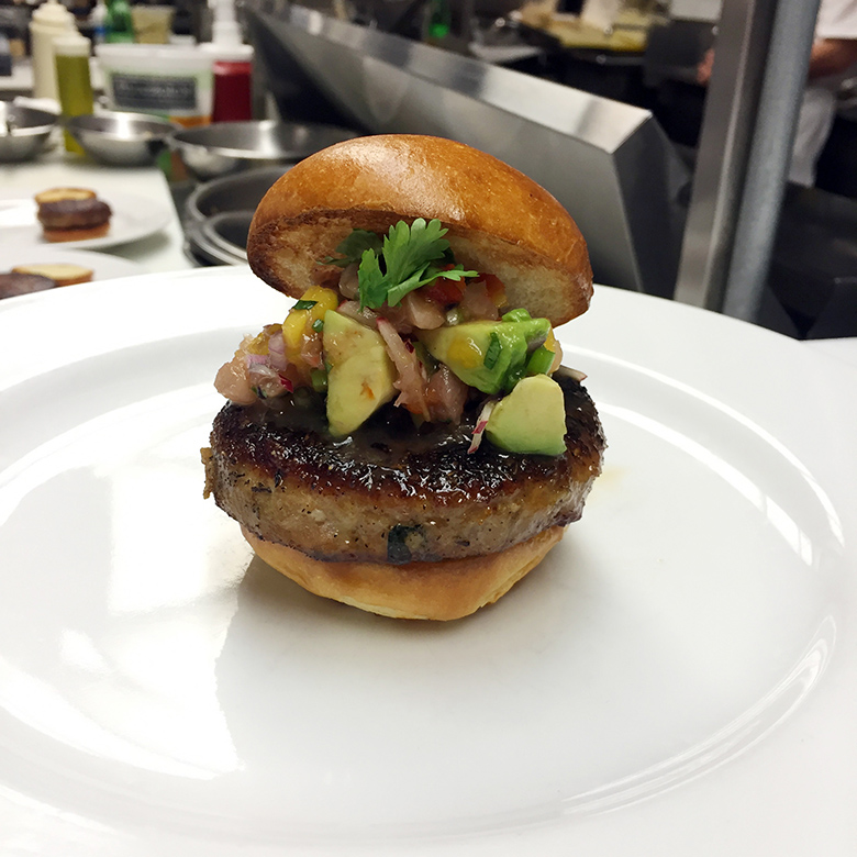The avocado and cilantro mix that Bell & Anchor uses on its ribs went quite well with the Montauk fishburger.