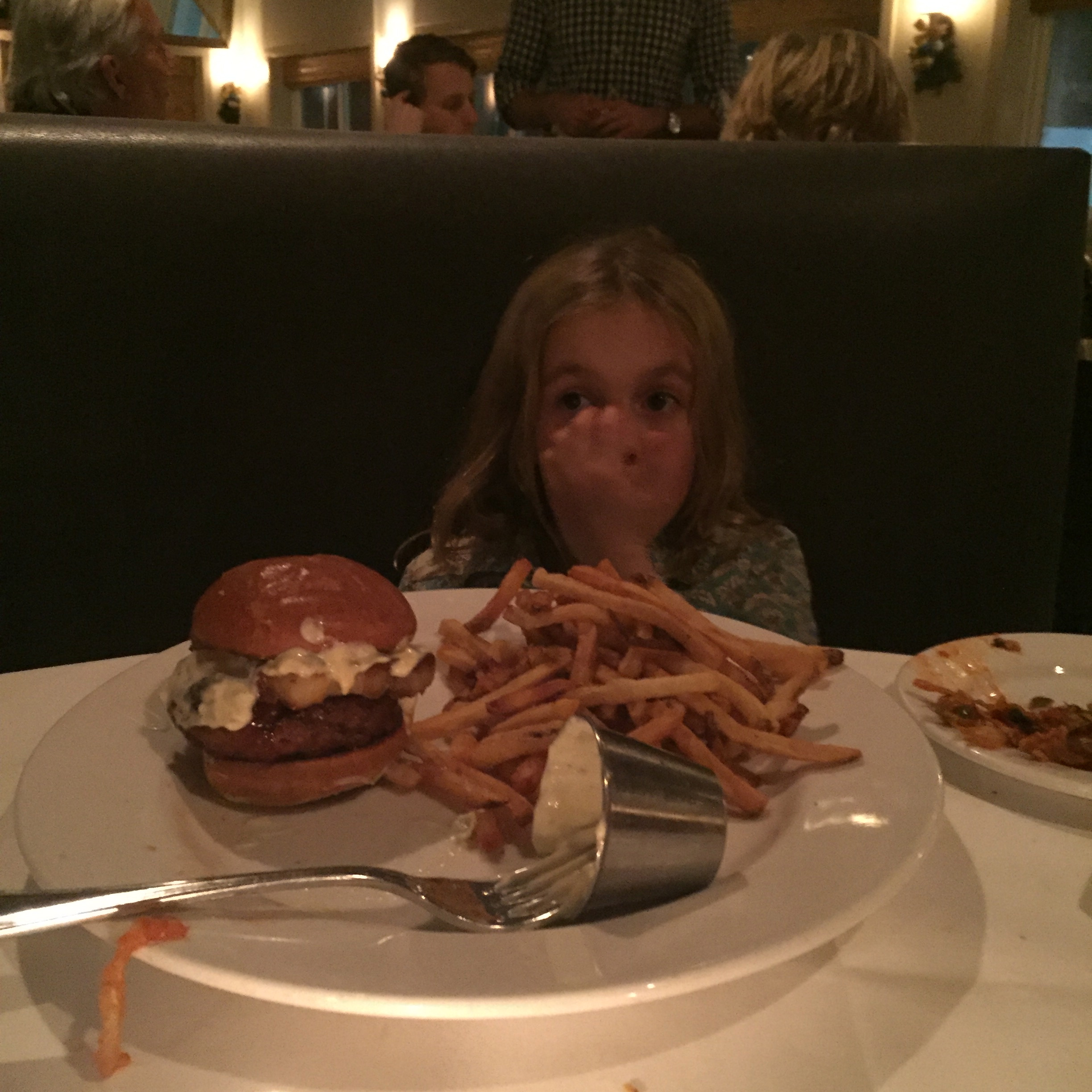 For my daughter, Clio, what defined a good fish burger was _No bones._ Here's her astonished, exhausted reaction after the fourth version was put in front of her.