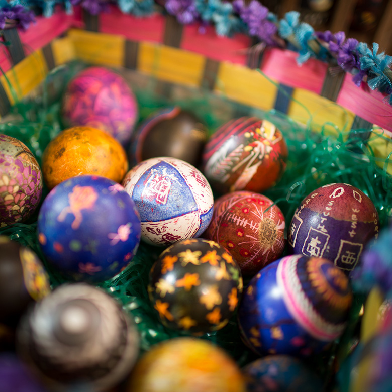An Easter basket of home dyed Ukranian Easter eggs.