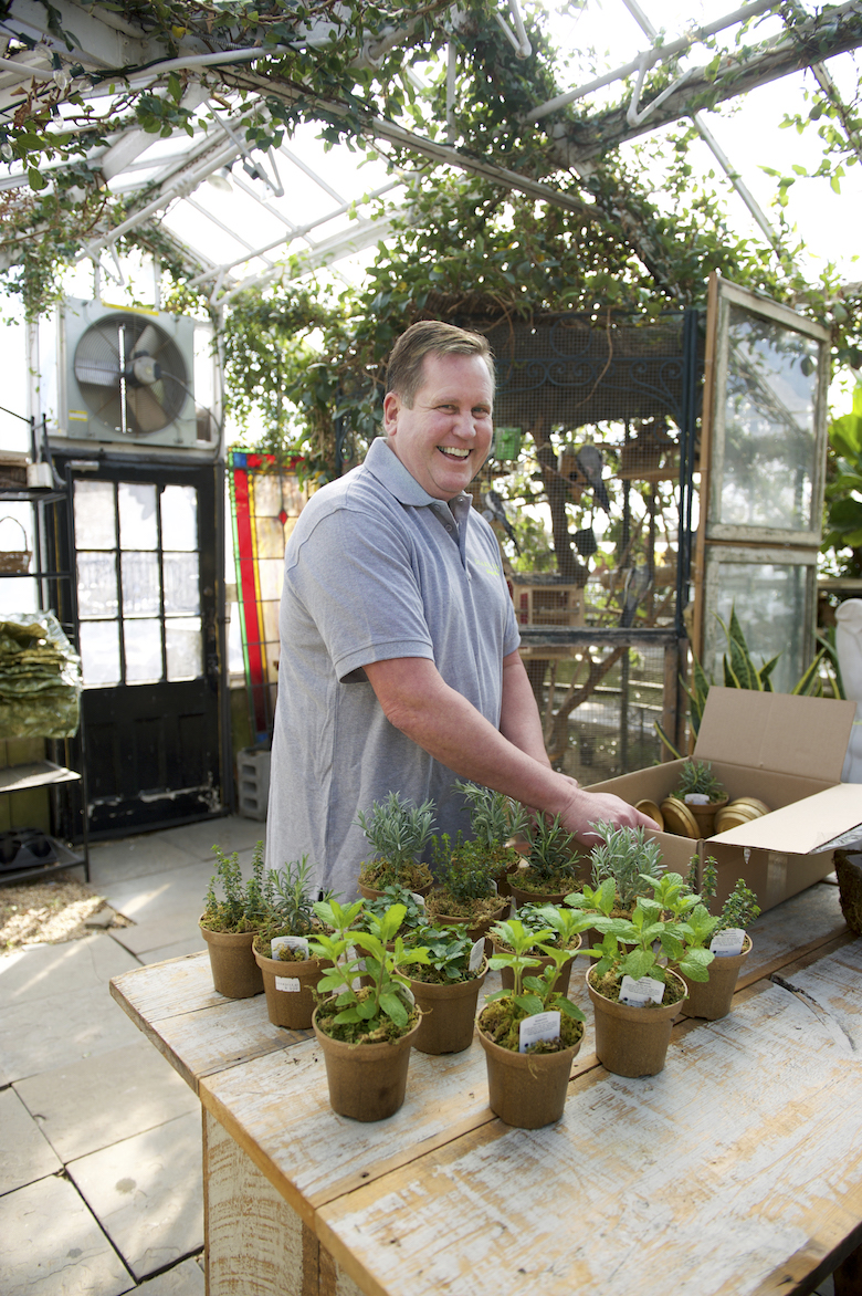 Proprietor Randy Statham tends to the organically grown herbs in the greenhouse at Scarsella's in Laurel Hollow.