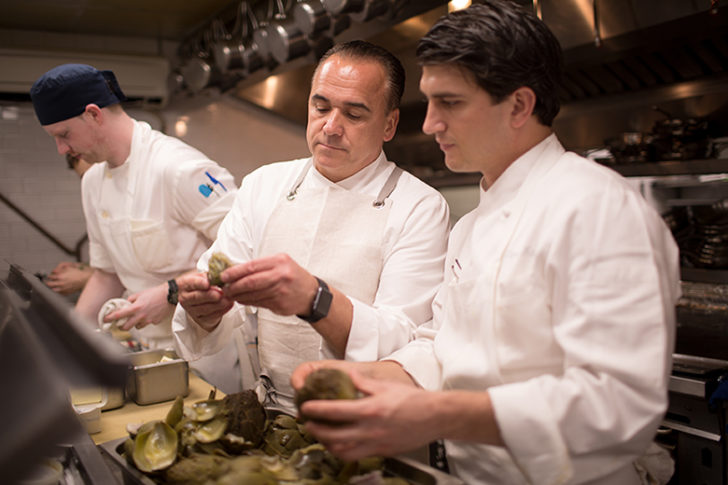 In the kitchen with Jean-Georges at Topping Rose restaurant.