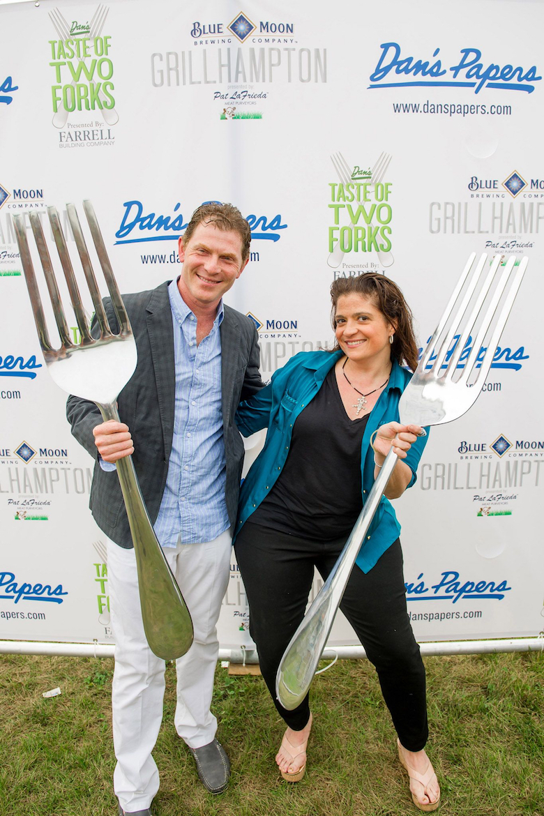 Alex Guarnaschelli and Bobby Flay at Dan's Taste of Two Forks in 2013.