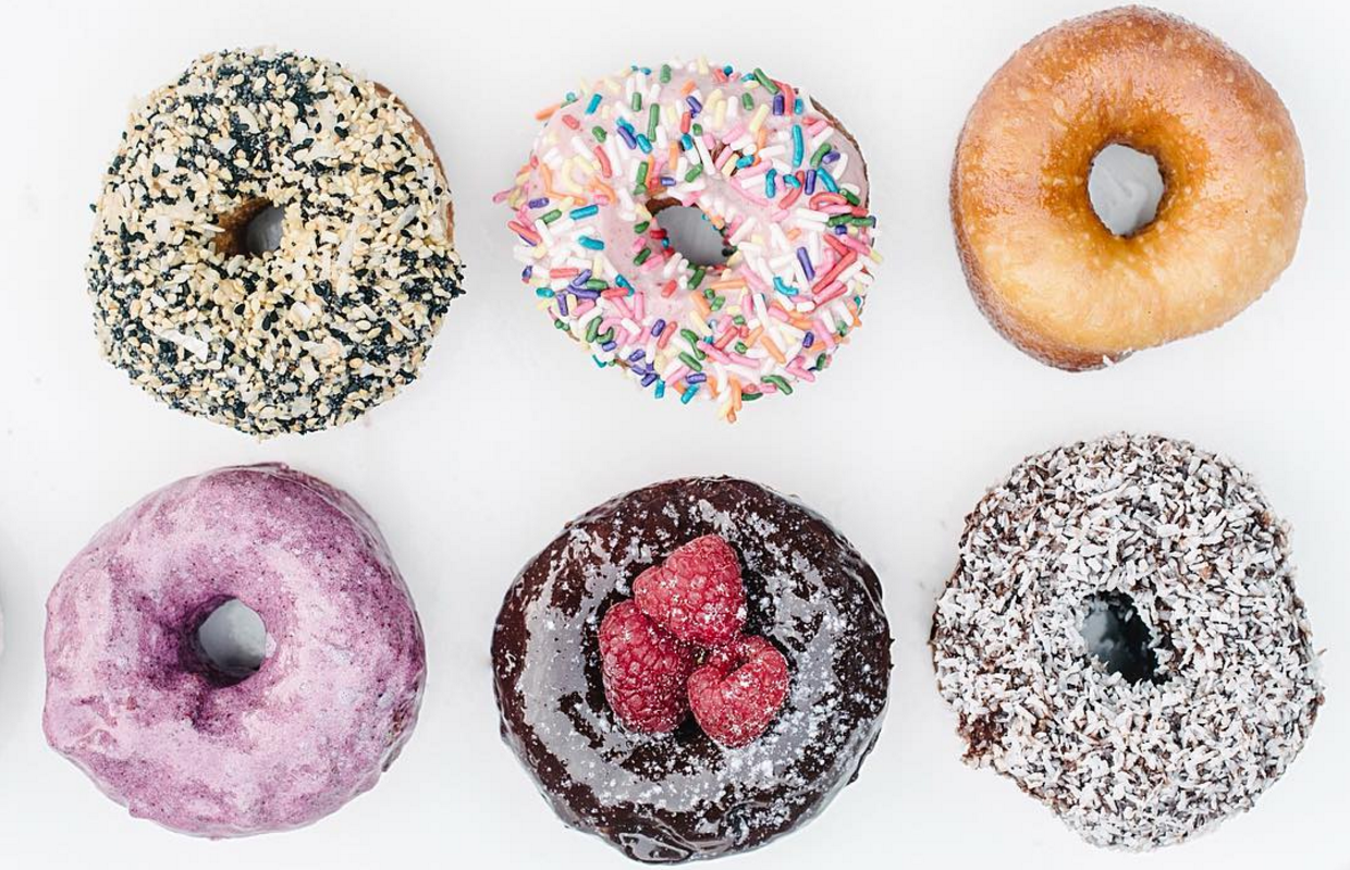 Grindstone's donuts are proofed for 48 hours and baked every 30 minutes, and served as Everything, Sprinkles, Blueberry, Lemon Poppy and Vanilla Glaze