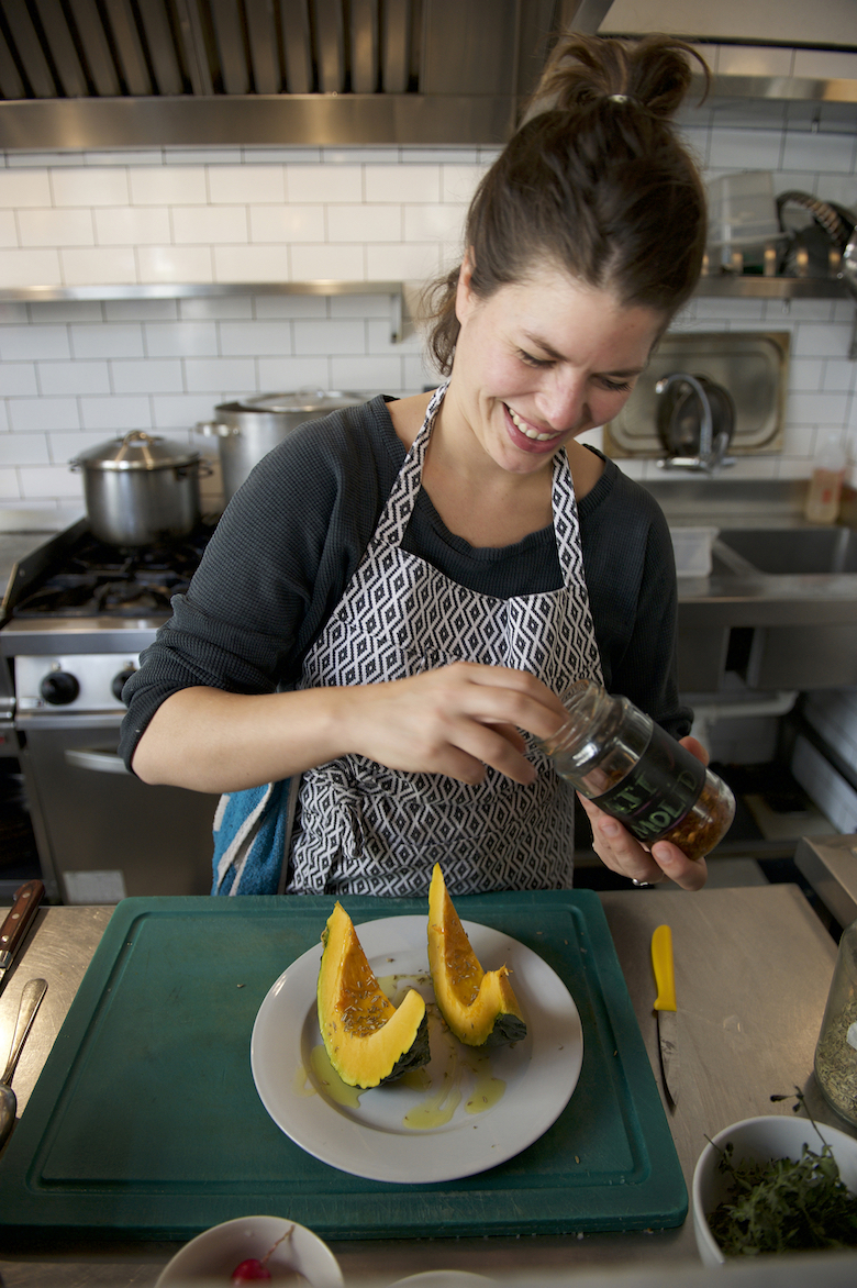Chef Lucia Soria in the kitchen at her restaurant Jacinto in Montevideo, UY.