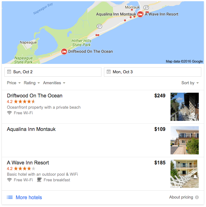 "Here's what we found as sponsored listings when we Googled ""cheap hotel Montauk."