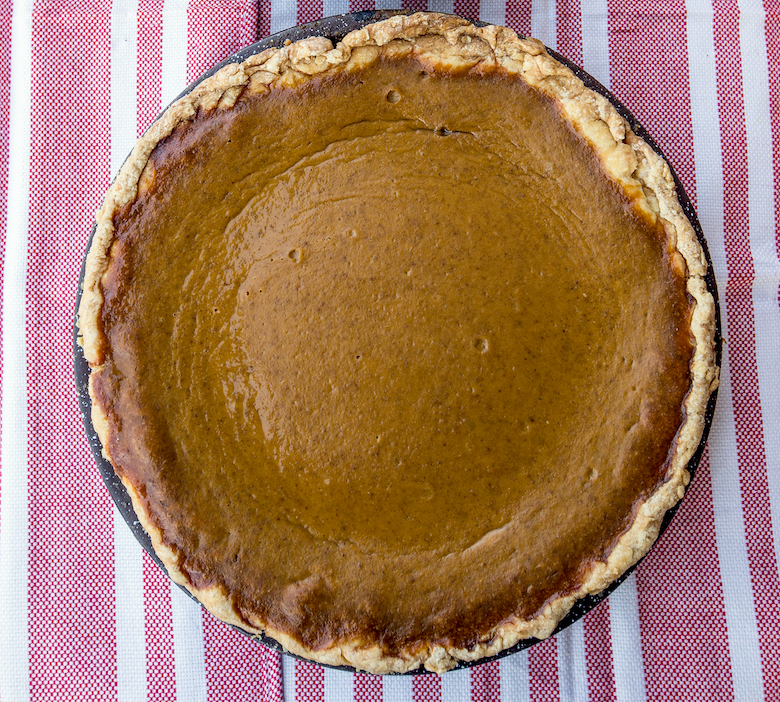 Ken Ettlinger, a local seed saver who reintroduced the Long Island cheese pumpkin baked the pumpkin pie that his mother Josephine Columbus Ettlinger used to baked on Feb. 1, 2016.