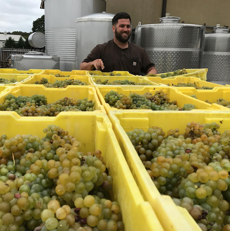 Joey Macari with the harvest at Macari Vineyards (Photo by Kelly Urbanik Koch)